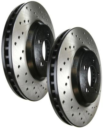 StopTech Cross Drilled Rear Rotors Set - RSX 02-06