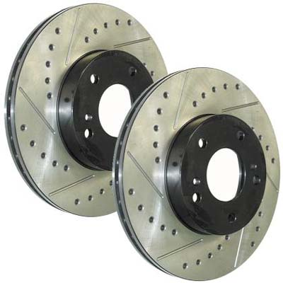 StopTech Slotted & Drilled Rear Rotors Set - RSX Base/Type S 02-06