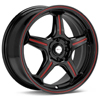 "Focal F01 17"" Black w/Red Stripe Rims - Acura RSX"