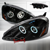 Spec-D Tuning Dual CCFL Halo LED Projector Headlights w/Amber Reflector Black - RSX 05-06